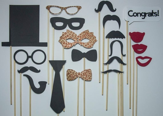 Wedding Photo Booth Props / Leopard Glitter Package / 20 piece set