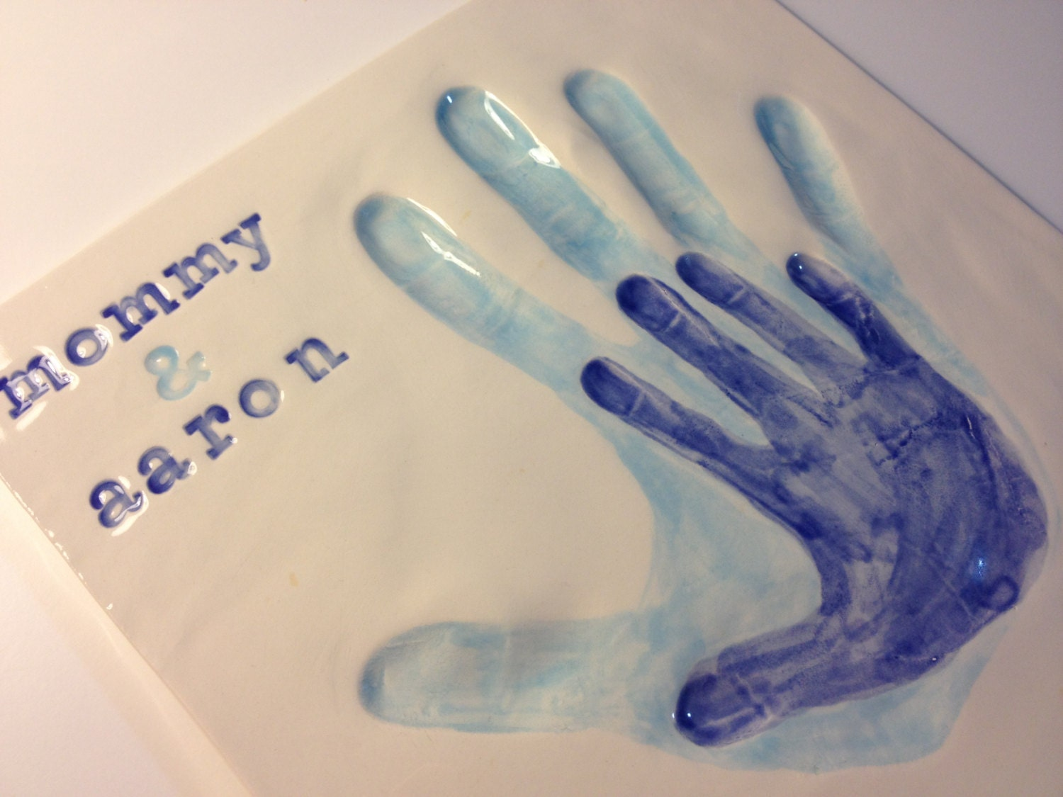 Mommy & Me Handprint Keepsake or Daddy and Baby Hand Imprints Square Ceramic Clay Wall Hanging