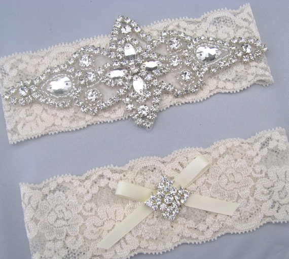 Ivory / White Lace Crystal Bridal Garter Set, Keepsake and Toss Garters, Wedding Heirloom Bride Garters, Something Blue