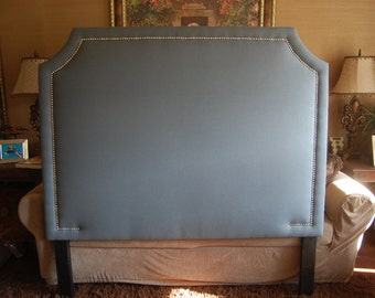Queen or Full Curved Corner Upholstered Headboard, Charcoal Gray Linen, Silver Nickel Nailhead trim