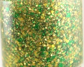 Astro Turf Green Yellow Gold Glitter Nail Polish Team Spirit Packers nail 5 free handmade nail polish vegan cruelty free indie polish