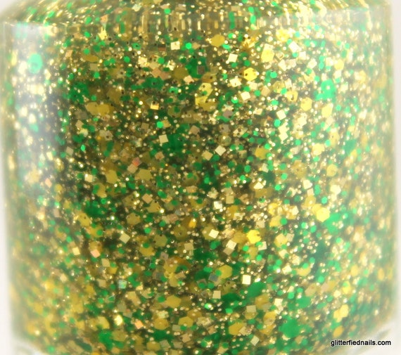 Astro Turf Green Yellow Gold Glitter Nail Polish Team Spirit Packers nail 5 free handmade nail polish vegan cruelty free indie polish