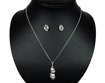 Pendant with Swarovski Crystal -Swarovski Necklace and Earrings Set- Irma Wedding Jewelry Set