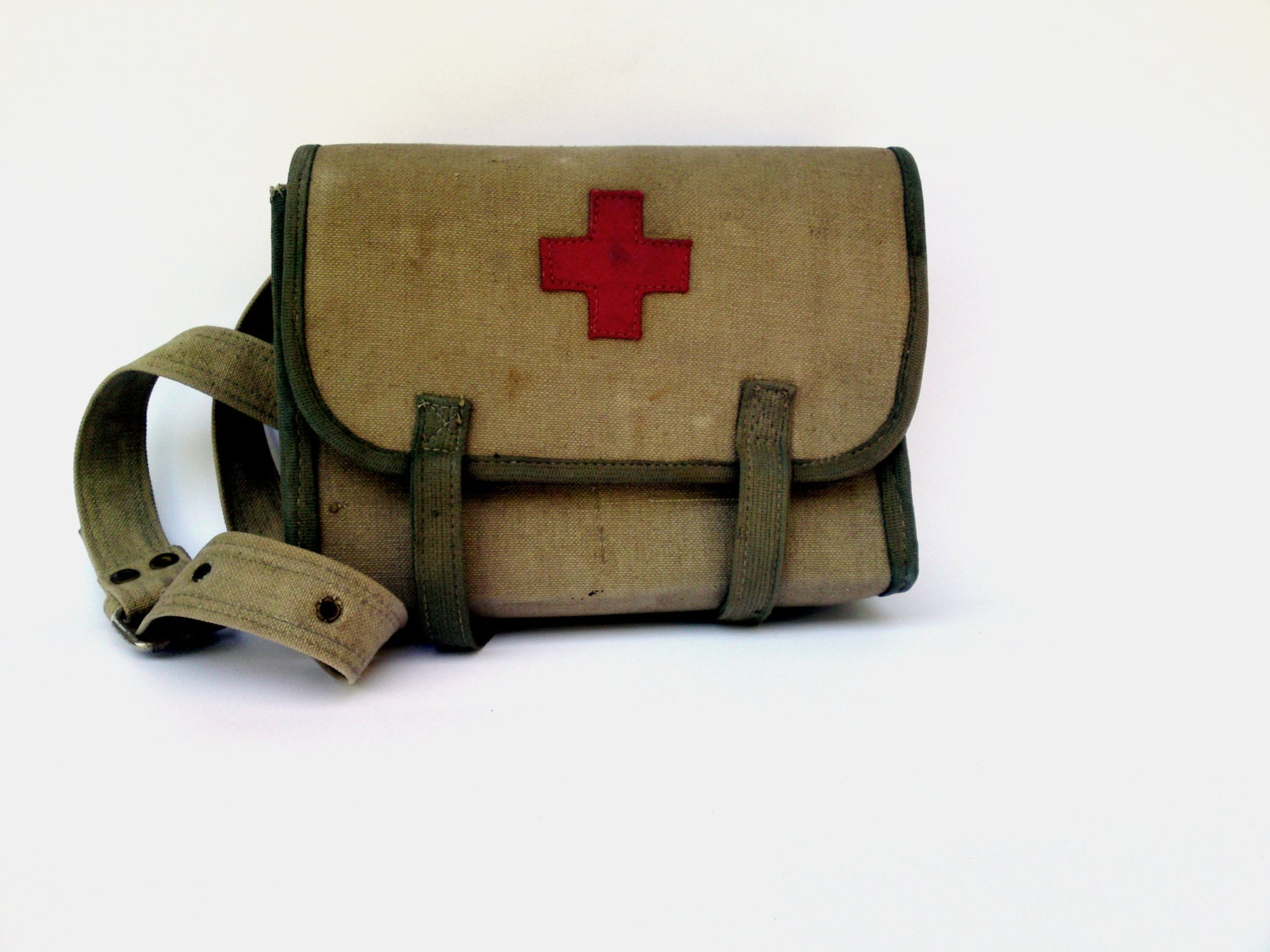 Vintage Red Cross Medical Bag Waxed Military Army Canvas Bag