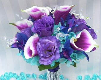 Kayla's Bridal Bouquet with Purple Piscasso Calla Lilies, Turquoise Hydrangeas, Crystals