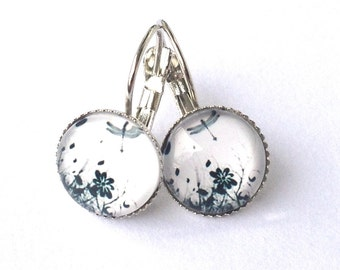 Summer Meadow - earrings with dragonfly