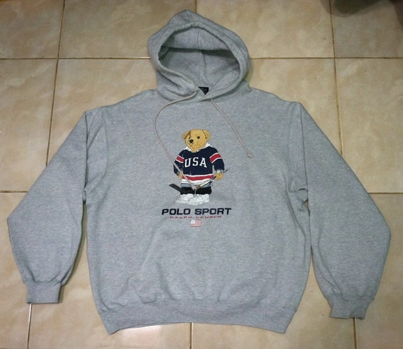 vintage polo bear by ralph lauren hockey usa hoodie by. Black Bedroom Furniture Sets. Home Design Ideas