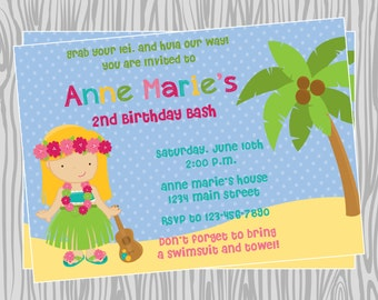 DIY - Girl Luau Birthday Party Invitation - Coordinating Items Available