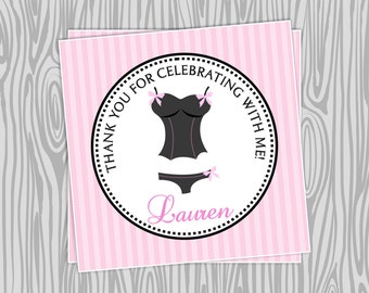 DIY -Lingerie Bridal Shower Favor Tags- Coordinating Items Available