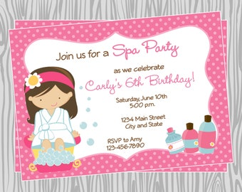 DIY - Girl Spa Birthday Party Invitation 4- Coordinating Items Available