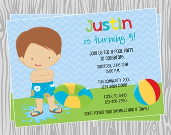 DIY - Boy Pool Party Birthday Invitation - Coordinating Items Available