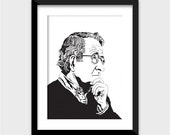 Noam Chomsky Art Print - Multiple Sizes Available - MIT Professor, Activist, Author - Great Gift for Intellectuals, College Students