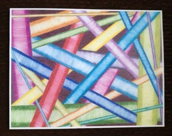 Print of colored pencil drawing of neon tubes