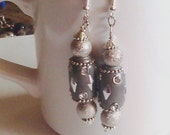 Grey and Silver Beaded Boho Earrings, Dangling Beaded Earrings, Beaded Earrings