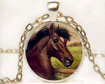 Black Beauty Necklace Altered Art Pendant Horse Necklace Equine Pendant Photo Pendant Picture Pendant Resin Pendant
