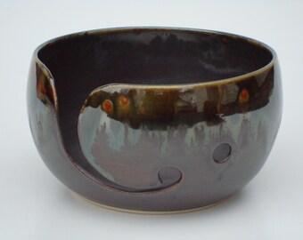 Pottery Yarn Bowl, Ceramic Knitting bowl, Crochet bowl, dark brown, gray, yarn holder for knitters