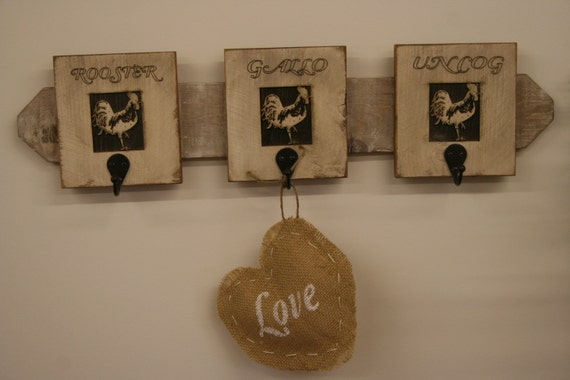 Rustic Rooster Wall Decor : Items similar to rustic rooster hanger wall decor handmade