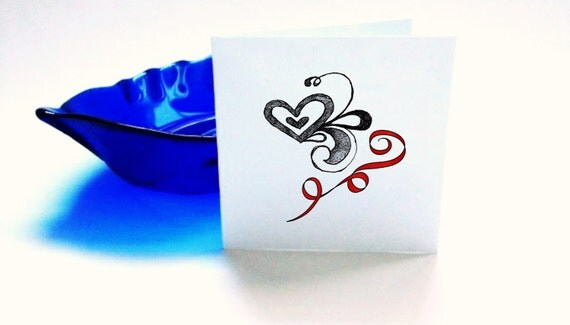 Blank Cards Swirls and Hearts Set of 6