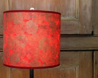 Handmade Lotka Red with Gold Mums Drum Lamp Shade