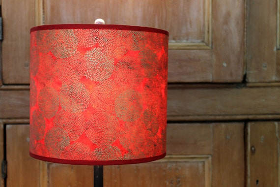 handmade lotka red with gold mums drum lamp shade. Black Bedroom Furniture Sets. Home Design Ideas