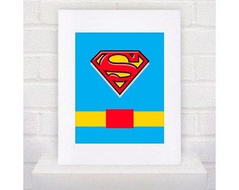 Digital Download Superman Superhero with belt Typography Poster  - Boys Room - 8x10 - Superman Superhero Typography -  Superman Superhero