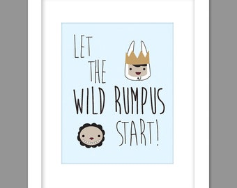 Digital Download Where the Wild Things Are Nursery Art print Print kids, Let The Wild Rumpus Start Characters - 8x10 or 11x14