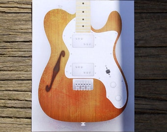 SALE!!! - Fender Telecaster Thinline Guitar Limited Run Print - Hand Numbered