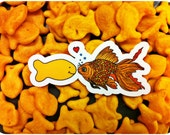 "Free Lovin' Fish, Decaffeinated Designs ""Opposites Attract"" (2x3) Waterproof, weatherproof and durable vinyl sticker"