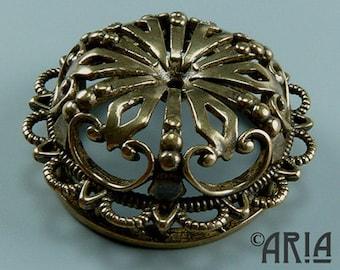 DAMASK SLIDER: Damask Antique Silicon Bronze Large Medallion Connector Slider Pendant, 9.9x27.75mm (DMSL03)