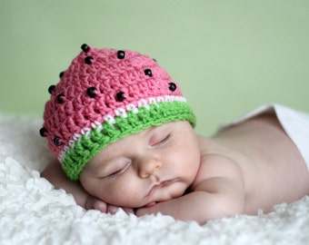 NEW Its a Girl Slice of Watermelon Beanie Hat with seeds  Many Sizes preemie, newborn, 0-3 month, 3-6 month, 6-12 month, 1-3 yr