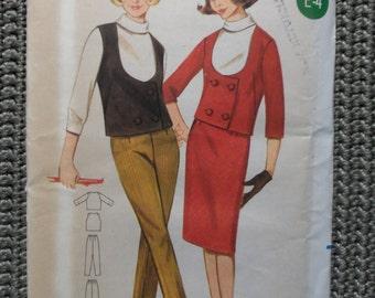 VINTAGE 1960s Butterick 4 piece SUIT Pattern sz 12 uncut