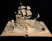 "Photographic Print of Book Sculpture 'A Ship Sets Sail' 10"" x 8"""