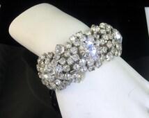 Wide Rhinestone Clamper Bracelet