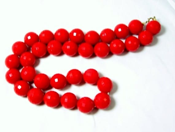 Vintage Cherry Red Bead Necklace Chunky Faceted Bold