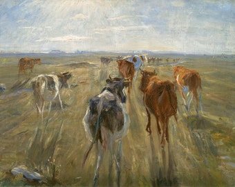 "Theodor Philipsen : ""Long Shadows. Cattle on the Island of Saltholm"" (c1890) - Giclee Fine Art Print"