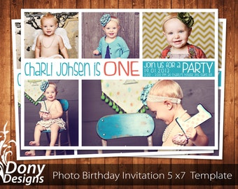 BUY 1 GET 1 FREE Photo Birthday Invitation Photocard Photoshop Template Instant Download: cardcode-129