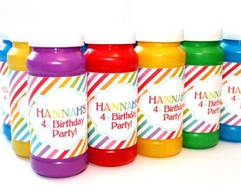 Rainbow Birthday Party -  DIY PRINTABLE Bubble Labels