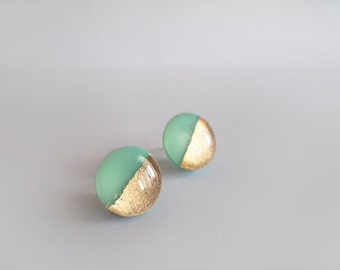 Mint Green Gold Round Stud Earrings - Surgical Steel Posts