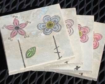Two Cute Little Flowers, Coasters (set of 4 coasters)
