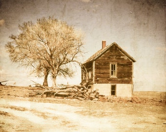Rustic Art, house on a hill, wood cabin, rustic, primitive, neutral, brown, white, landscape, Fine Art Photography, Country Home Decor