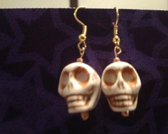 White Magnesite Skull Dangle Earrings
