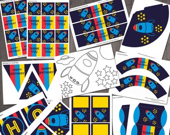 Space Rocket Boys Birthday Party Supplies - PRINTABLE Party Decorations