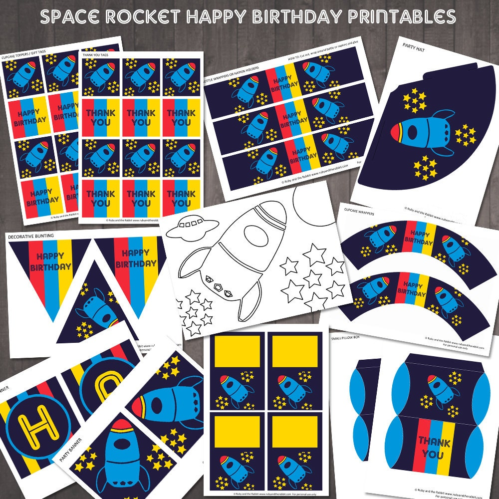 space rocket party printables