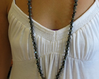 Labradorite,tiger ebony wood and Tahitian pearl necklace