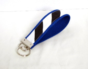 Blue white chevron stripe wristlet key fob one blue webbing
