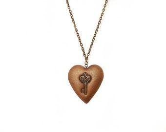 Polymer clay necklace Metallic neckace Brass key Golden necklace Heart necklace Steampunk necklace Romantic necklace Valentines day
