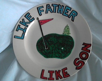 """9 in plate """"like father like son"""" with display stand"""