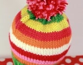 PENNY: Handknit baby hat, 6 month size, stripes, pom-pom