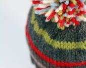 COLIN: Handknit baby hat, 6 month size, stripes, pom-pom