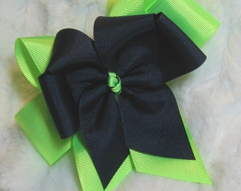 Lime Green & Navy Girls 5 inch Double Hair Bow